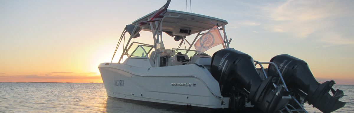 """Our charter boat the """"Lucky Fish"""" in the sunset"""