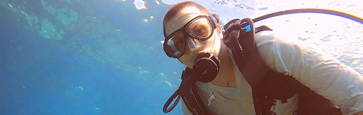 man on a lucky fish private scuba diving charter
